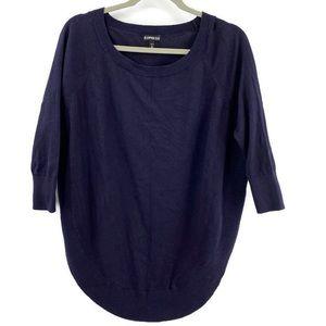 Express Round Hem Sweater Navy Oversize Small